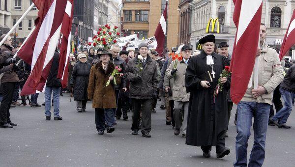 Шествие ветеранов легиона Ваффен СС в Риге. Архивное фото