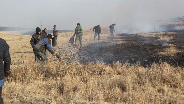 Ликвидация степного пожара в Забайкалье