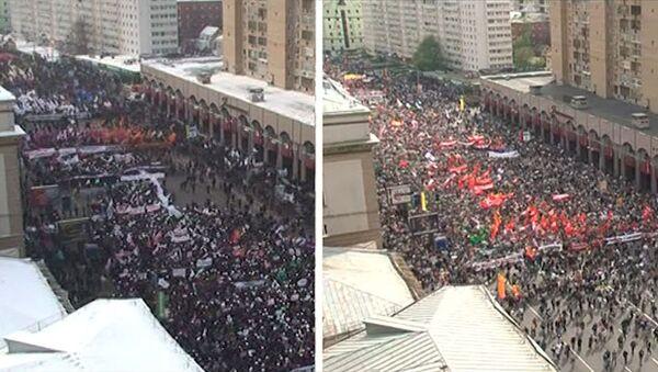 Сравнение шествий оппозиции по Якиманке 4 февраля и 6 мая. Ускоренная версия