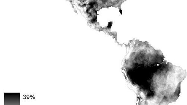 Карта Северной и Южной Америки, на которой темными пятнами указаны те регионы, где животные не успеют убежать от изменения климата