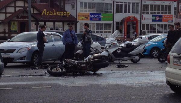 ДТП с участием мотоцикла в Москве
