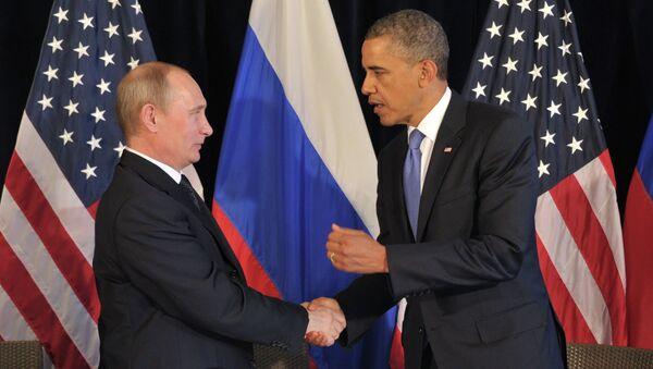 Президент РФ В.Путин встретился с президентом США Б.Обамой. Архив