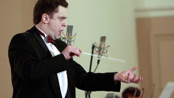 Дирижер Михаил Голиков на концерте Вольфганг Амадей Моцарт. Санкт-Петербург