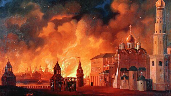 А.Ф. Смирнов. Репродукция картины Пожар Москвы. Холст, масло. 1813