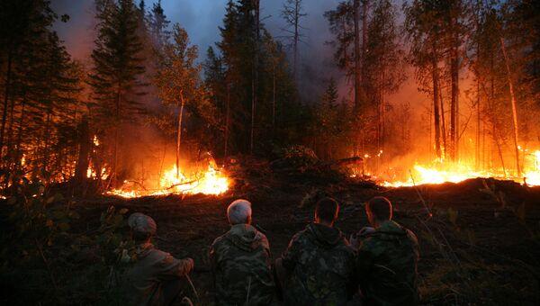 Тушение лесных пожаров в Красноярском крае, архивное фото
