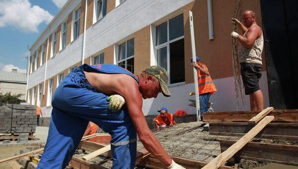 Работы по восстановлению школы №2 в Крымске