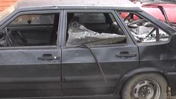 Последствия взрыва машины ГИБДД в Ингушетии. Кадры с места ЧП