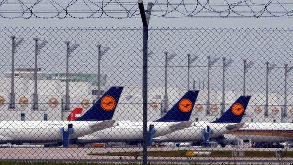 Самолеты авиакомпании Lufthansa в аэропорту Франкфурт-на-Майне