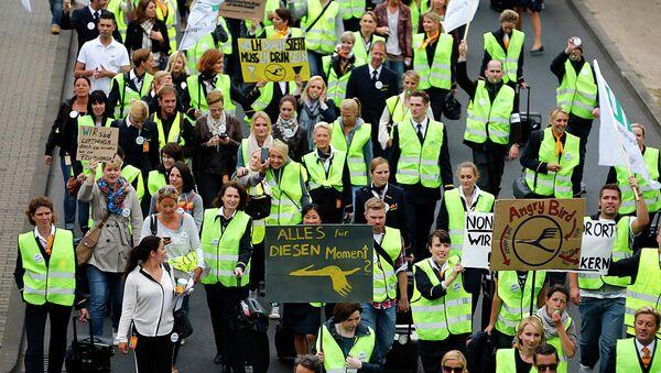 Сотрудники авиакомпании Lufthansa бастуют в аэропорту Франкфурт-на-Майне