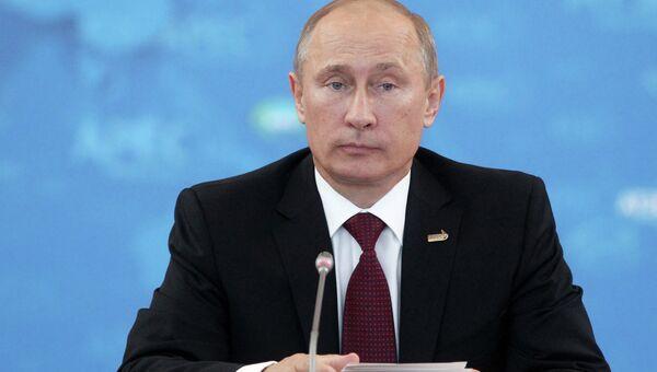 Президент России Владимир Путин на втором пленарном заседании лидеров экономик АТЭС
