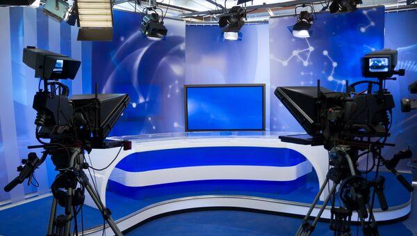 В телевизионной студии. Архивное фото