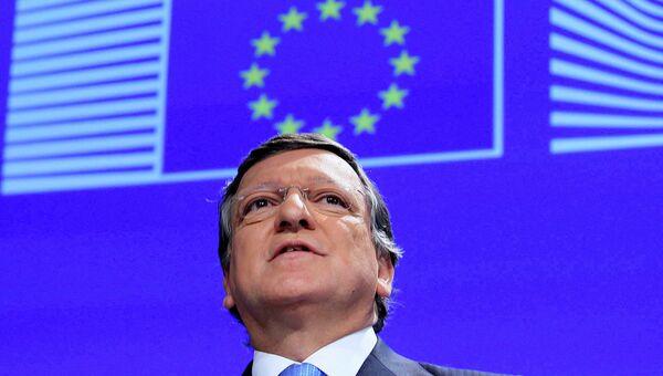 Председатель Еврокомиссии Жозе Мануэл Баррозу на пресс-конференции в Брюсселе