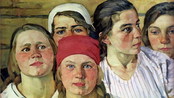 Репродукция картины художника К.Ф.Юона Комсомолка (Подмосковная молодежь)