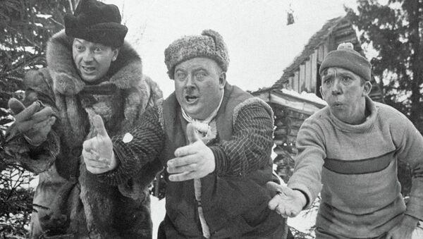 Г. Вицин, Е. Моргунов и Ю. Никулин в фильме Самогонщики