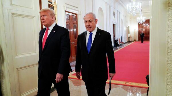 Президент США Дональд Трамп и премьер-министр Израиля Биньямин Нетаньяху перед совместной пресс-конференции в Вашингтоне