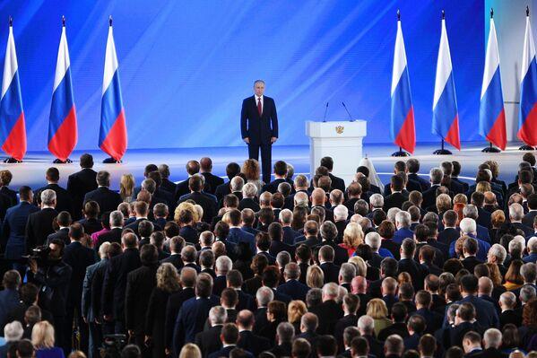 Президент РФ Владимир Путин выступил с ежегодным посланием Федеральному Собранию