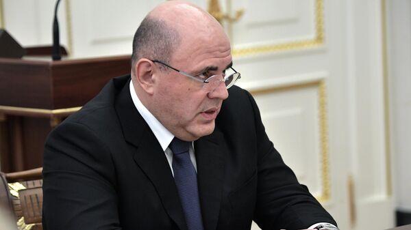 Председатель правительства РФ Михаил Мишустин во время встречи президента РФ Владимира Путина с членами правительства