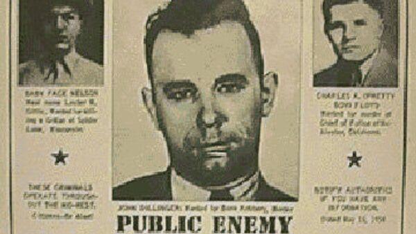 Американский преступник Джон Диллинджер на обложке газеты