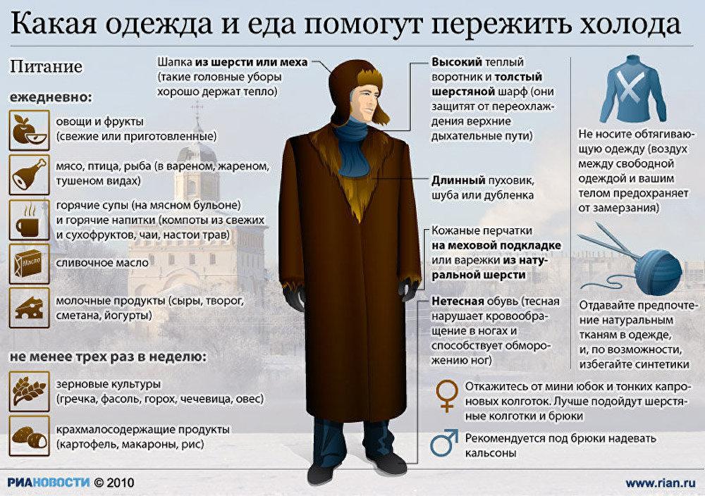 Какая одежда и еда помогут пережить холода