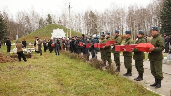 Тульские поисковики перезахоронили останки 22 красноармейцев