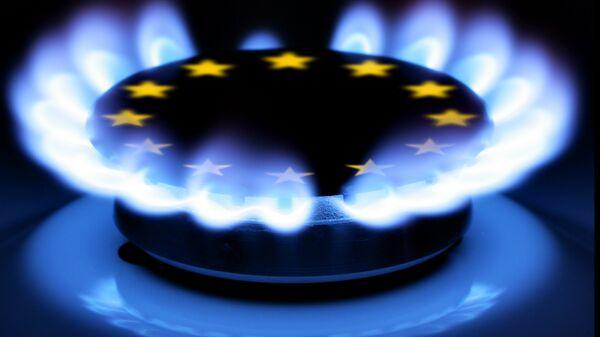Пламя газа и символ Евросоюза