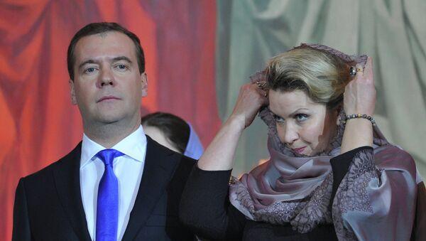 Д.Медеведев на Рождественском богослужении в Москве