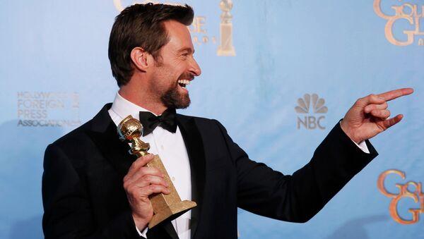 Актер Хью Джекман на церемонии вручения премии «Золотой глобус»