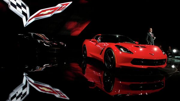 Автомобиль Chevrolet 2014 Corvette на автосалоне в Детройте, США