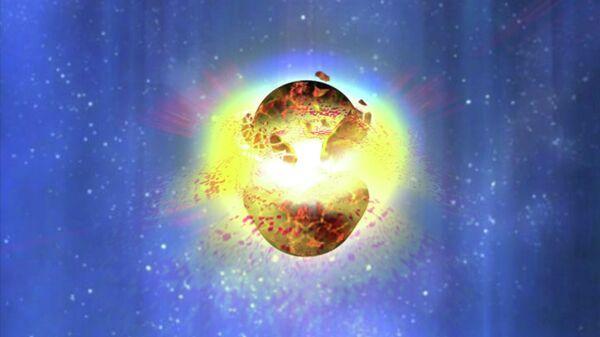 Слияние двух нейтронных звезд в представлении художника