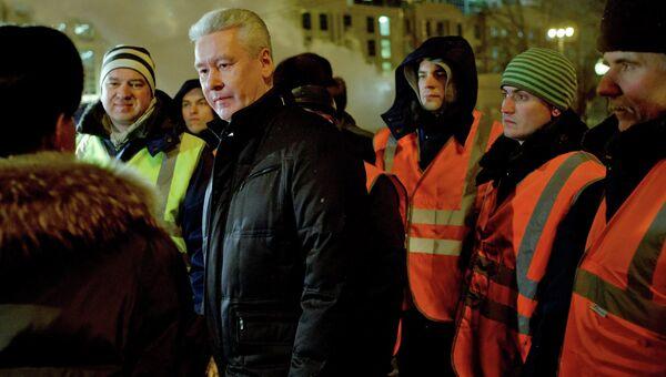 С.Собянин проинспектировал работы по уборке снега с улиц Москвы