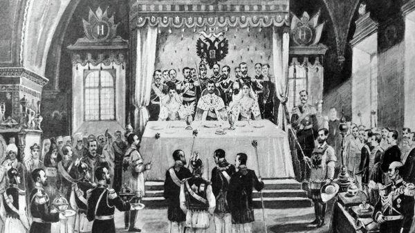 Церемония помазания на царство императора России Николая II
