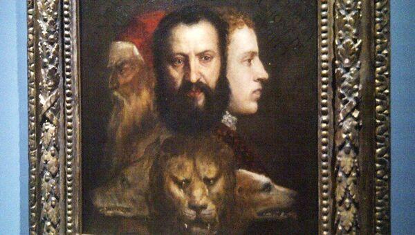 Картина Тициана Аллегория благоразумия на выставке его шедевров в Риме
