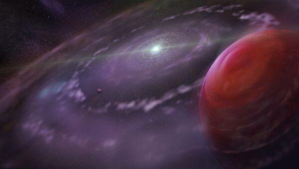 Так художник представил себе молодую экзопланету-гигант HR 8799с в созвездии Пегаса