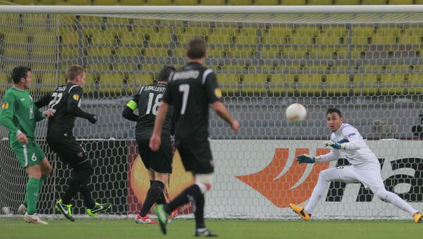 Игровой момент матча Лиги Европы Рубин - Леванте