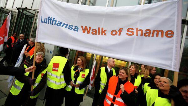 Забастовка сотрудникав авиакомпании Lufthansa в аэропорту Франкфурта, Германия. Архив