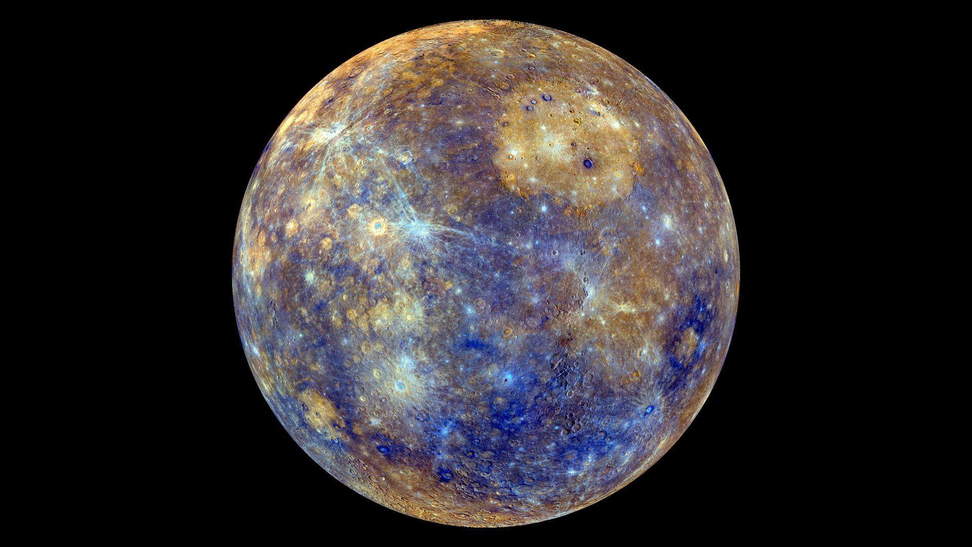 Снимок Меркурия в искусственных цветах, отражающих минералогические и химические свойства приповерхностного грунта - РИА Новости, 1920, 28.09.2021