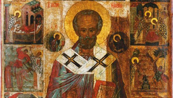 Икона. Николай Чудотворец с житием. Конец XV века. Архивное фото