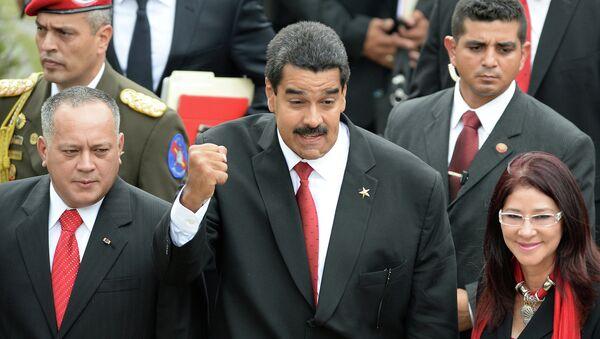Новоизбранный президент Венесуэлы Николас Мадуро перед началом инаугурации