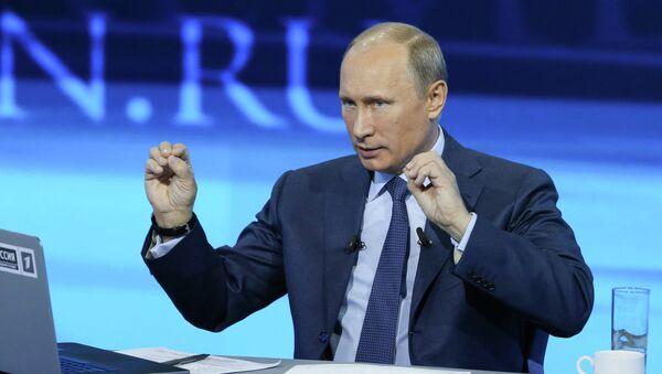 Президент РФ Владимир Путин отвечает на вопросы россиян в специальной программе Прямая линия с Владимиром Путиным