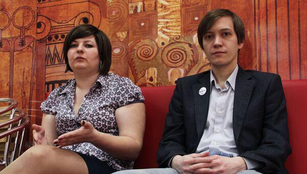Организаторы Тотального диктанта Ольга Ребковец и Егор Заикин