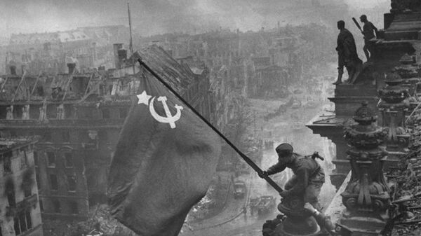 Знамя победы над Рейхстагом (1945). Архивное фото