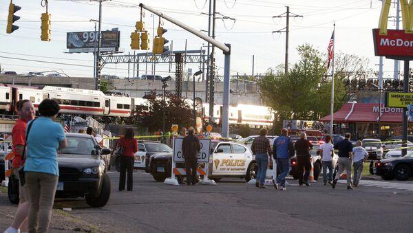 Место железнодорожной катастрофы в штате Коннектикут в США