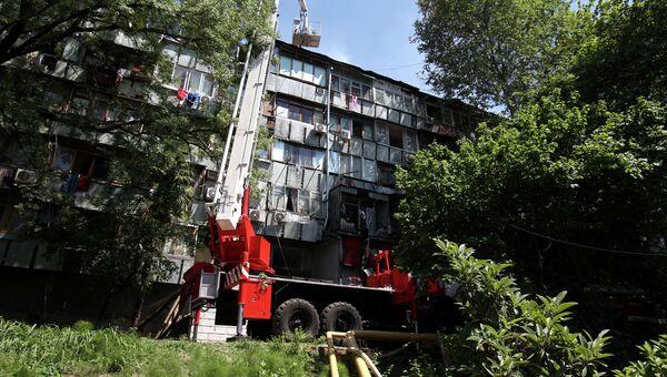На месте пожара в жилом доме на улице Чехова в городе Сочи