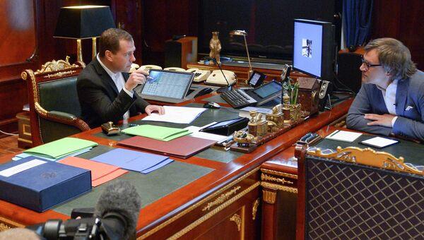 Д.Медведев на съемках программы НТВ Центральное телевидение