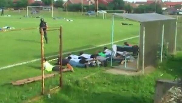 Спецназ прервал футбольный матч и уложил лицом в поле игроков и судей
