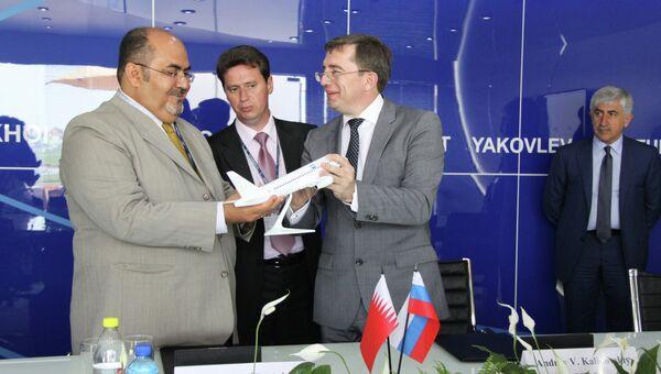 Подписание соглашения о намерениях закупать самолеты типа Superjet между ОАК и лизинговой компанией Бахрейна AeroLease