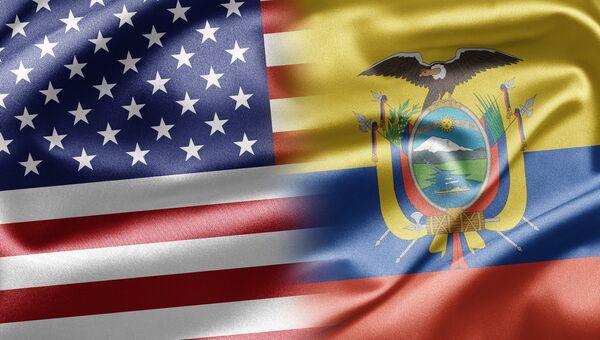 Флаги США и Эквадора, архивное фото
