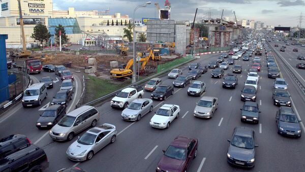 Пробка на Ленинградском шоссе в Москве