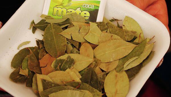 Листья коки и продукция из них. Архивное фото