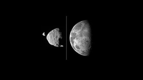 Спутники Марса Деймос и Фобос, снятые марсоходом Curiosity (сравнение с Луной)